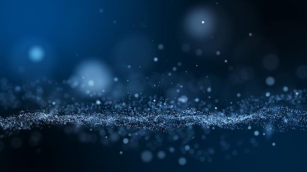 Fondo abstracto de partículas de polvo azul oscuro y resplandor.