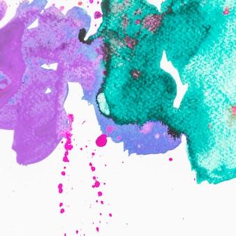Fondo abstracto pintado cepillado púrpura y verde
