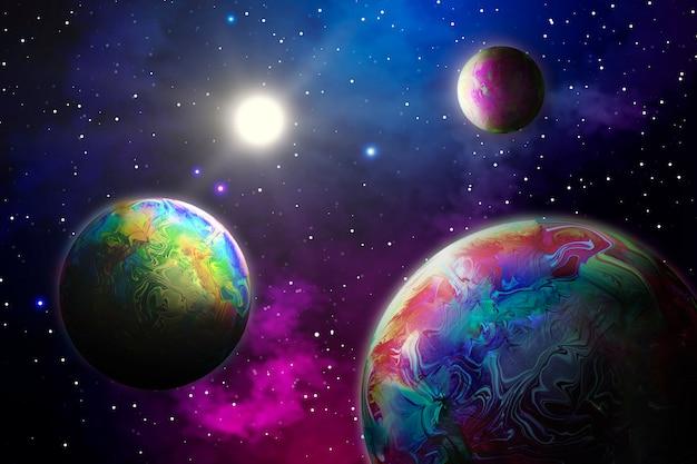 Fondo abstracto con planetas en el espacio
