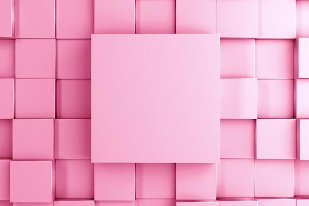 Fondo abstracto y plantilla de un cubo tridimensional central y cubos a diferentes alturas