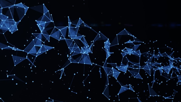 Fondo abstracto de polígono con puntos y líneas conectan