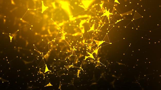 Fondo abstracto puntee y conecte la línea para la tecnología cibernética y el concepto de conexión de red futurista con una relación de pantalla ancha procesada oscura y granulada