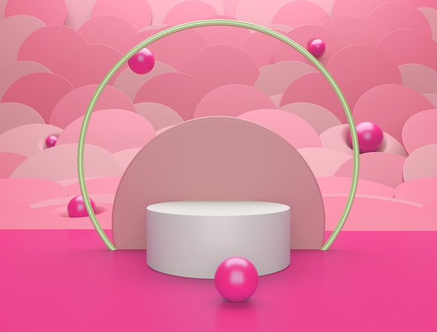 Fondo abstracto rosa, podio para colocación de productos
