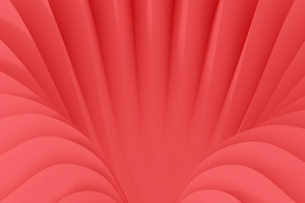 Fondo abstracto de una serpentina que fluye olas. ilustración 3d de color coral vivo