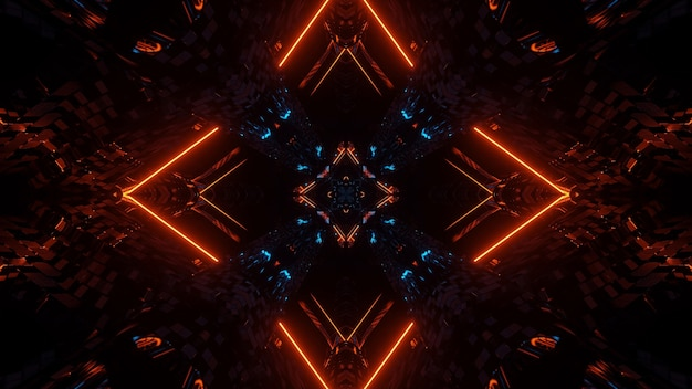 Fondo abstracto de simetría y reflexión futurista con luces de neón naranjas y azules