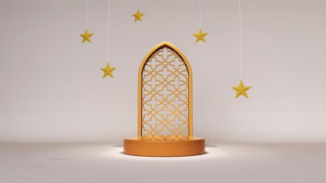 Fondo abstracto, simulacro de escena para el concepto de exhibición de productos de ramadán mubarak. representación 3d