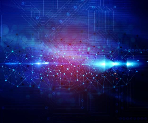 Fondo abstracto techno con puntos y líneas que conectan
