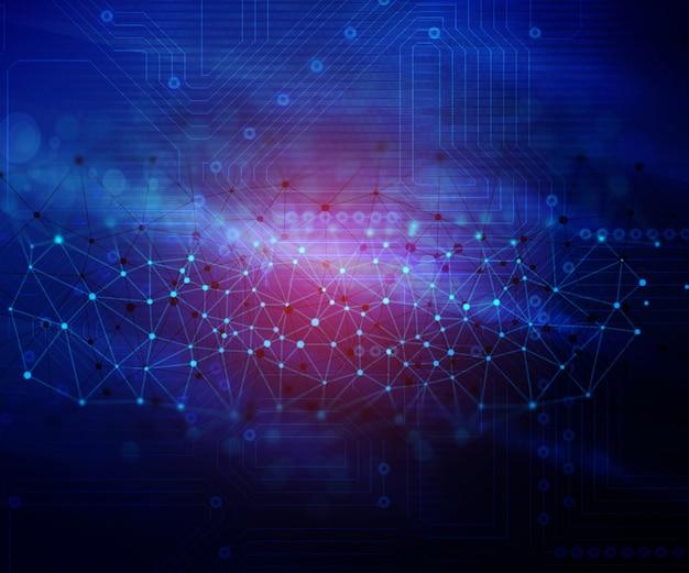 Fondo abstracto del techno con los puntos que conectan y la imagen de la tarjeta de circuitos