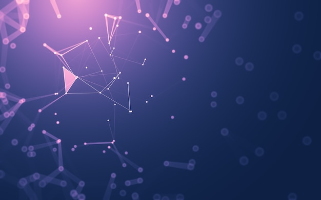 Fondo abstracto. tecnología de moléculas con formas poligonales, conectando puntos y líneas. estructura de conexión. visualización de big data.