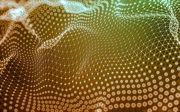 Fondo abstracto. tecnología de moléculas con formas poligonales, conectando puntos y líneas.