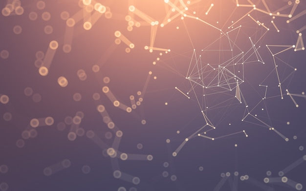 Fondo abstracto. tecnología de moléculas con formas poligonales, puntos y líneas de conexión