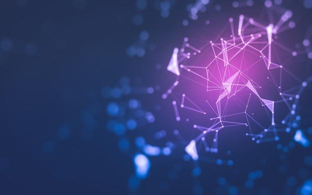 Fondo abstracto, tecnología de moléculas con formas poligonales, puntos y líneas de conexión