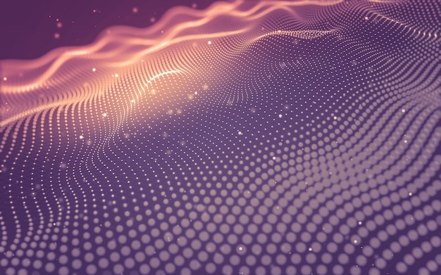 Fondo abstracto. tecnología de moléculas con formas poligonales, puntos y líneas de conexión.