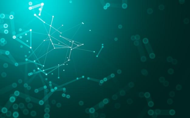 Fondo abstracto. tecnología de moléculas con formas poligonales