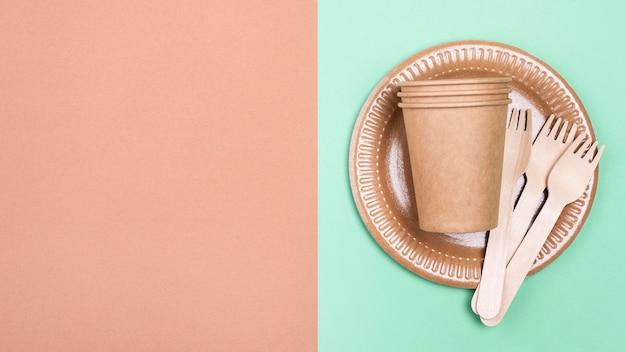 Fondo abstracto de vajilla biodegradable de cero residuos