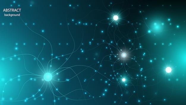 Fondo abstracto de vector en forma de células nerviosas y fibras brillantes. eps 10.