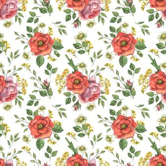 Fondo con acuarela de flores de amapola y peonía y ramas verdes