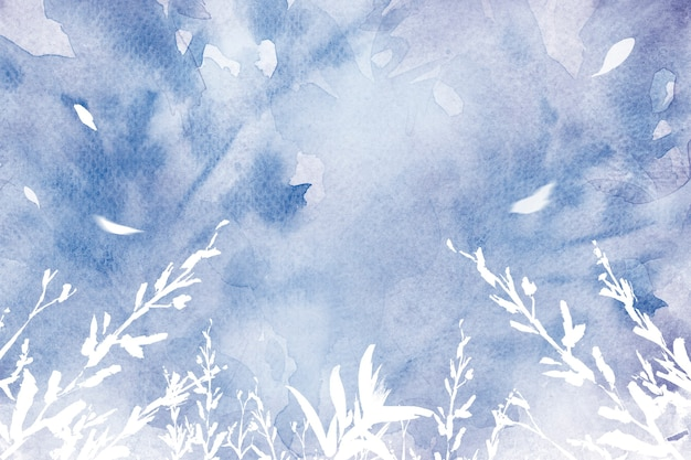 Fondo de acuarela de hoja estética en temporada de invierno púrpura