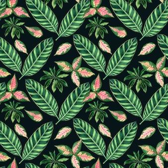 Fondo de acuarela naturaleza tropical con hojas de palmeras dibujadas a mano.