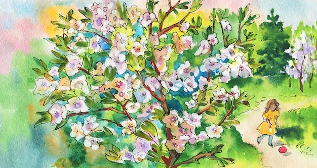 Fondo acuarela con niña y árbol floreciente.