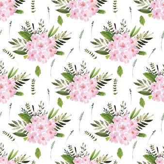 Fondo acuarela con plantas con flores de primavera