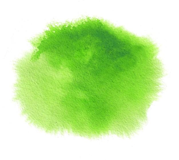 Fondo de acuarela de primavera verde brillante con trazo de pintura de color de agua