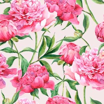 Fondo acuarela transparente con peonías rosas