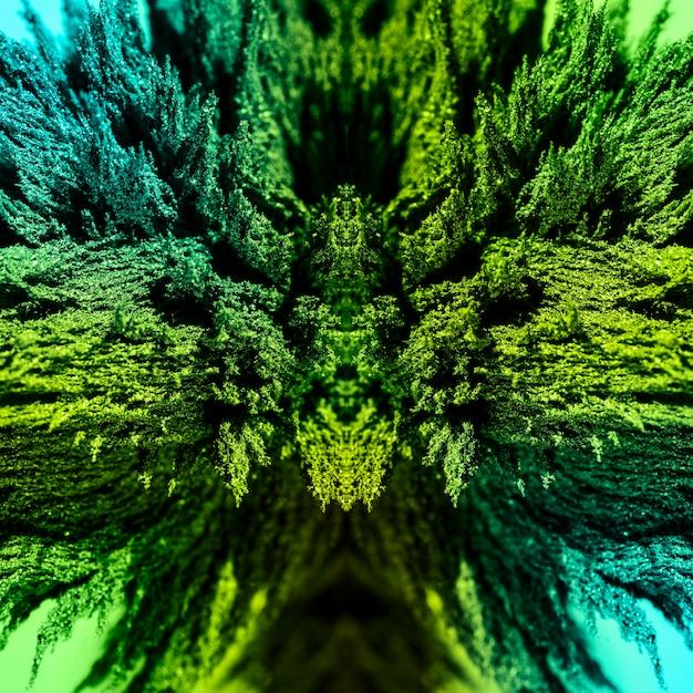 Fondo de afeitado metálico magnético abstracto caleidoscópico verde
