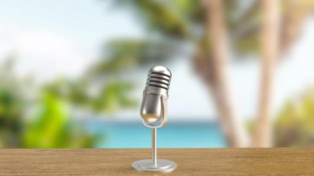 El fondo al aire libre del micrófono para los medios de comunicación o el concepto de podcast representación 3d