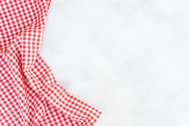 Fondo de alimentos abstracto fondo gris vacío con servilleta roja y blanca