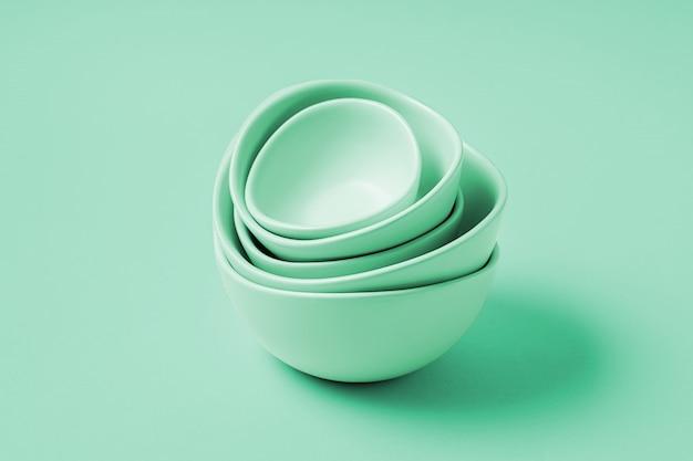 Fondo de alimentos con platos vacíos, sobre fondo de color neo mint, plano lay.
