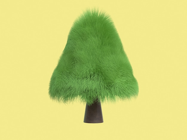 Fondo amarillo árbol pelo hoja 3d rendering estilo de dibujos animados