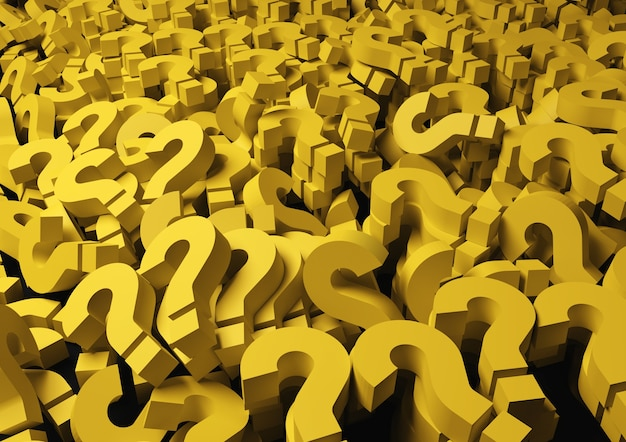 Fondo amarillo signos de interrogación