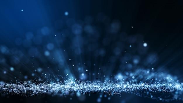 Fondo de animación abstracta azul oscuro con forma de partículas en movimiento y parpadeo. telón de fondo de efecto de rayo de luz bokeh.