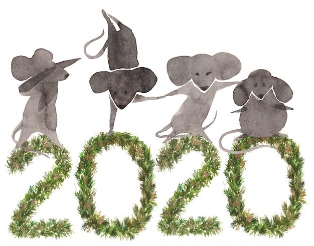 Fondo de año nuevo 2020 con ratones lindos