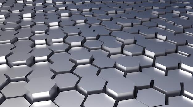 Fondo arquitectónico de metal abstracto hexagonal rendido 3d