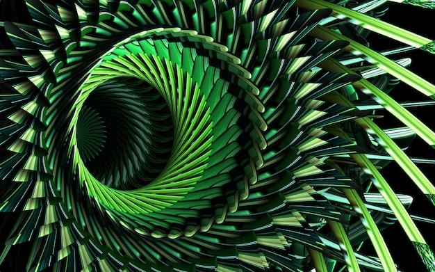 Fondo de arte abstracto 3d con parte de la flor de simetría surrealista como motor de turbina a reacción con hojas afiladas de gradiente verde sobre fondo negro