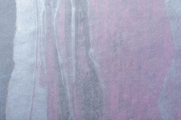 Fondo de arte abstracto color plata y morado, pintura multicolor sobre lienzo,