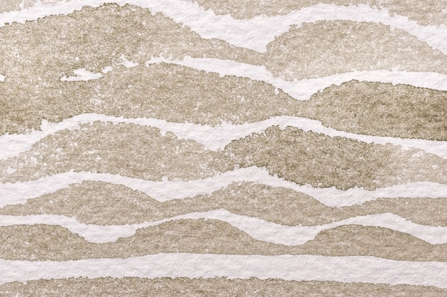 Fondo de arte abstracto colores marrón claro y blanco. acuarela sobre lienzo con patrón de ondas beige. fragmento de obra de arte sobre papel con línea ondulada de arena.