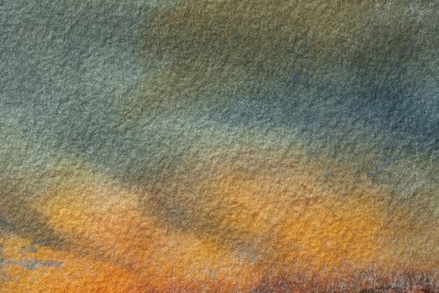 Fondo de arte abstracto colores naranja y verde oscuro acuarela sobre lienzo