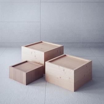Fondo de aspecto atemporal / caja de presentación / interior de representación 3d