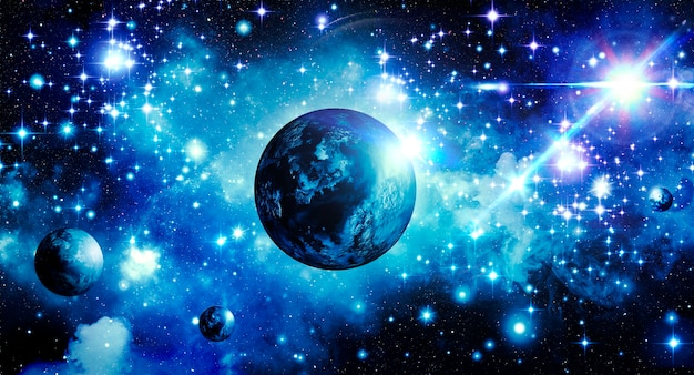 Fondo astronómico abstracto azul cielo estrellado con planetas y estrella brillante brillante