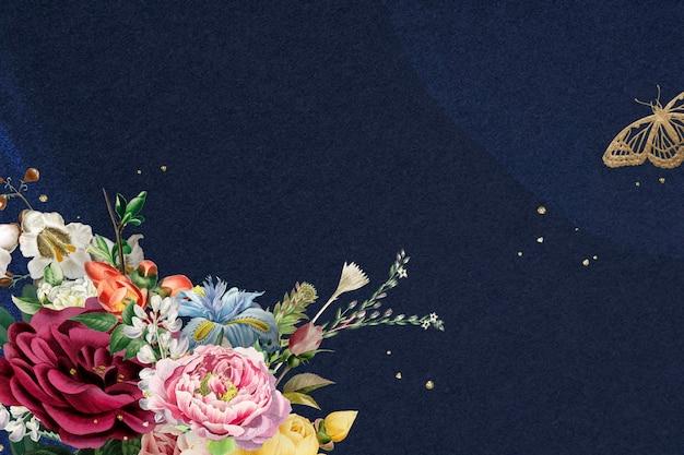 Fondo azul acuarela de borde de rosas coloridas de lujo