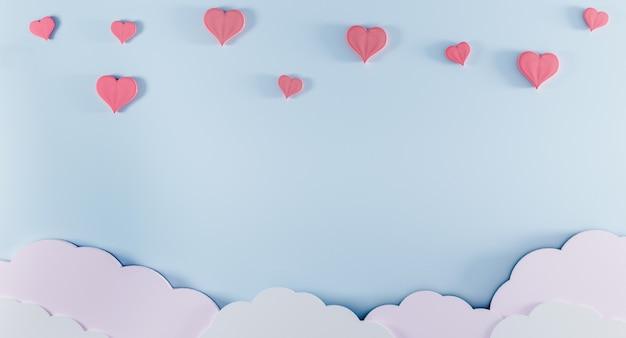 Fondo azul claro con nubes de papel y corazones de color rosa. concepto de san valentín y nacimiento de bebés