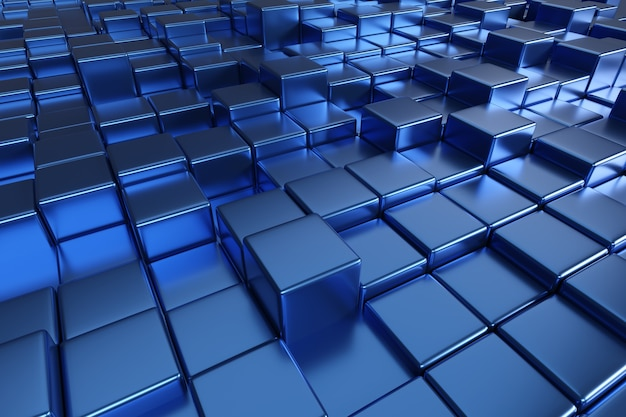 Fondo azul de formas cúbicas.