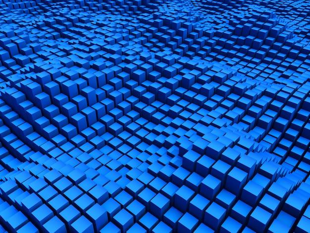 Fondo azul moderno abstracto 3d con cubos ondulados