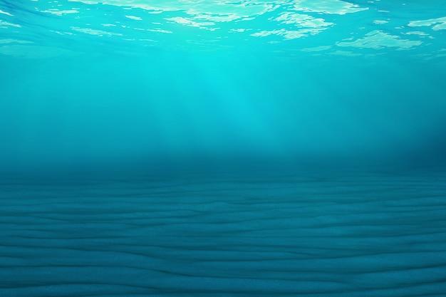 Fondo azul submarino en mar, océano, con luz de volumen. representación 3d