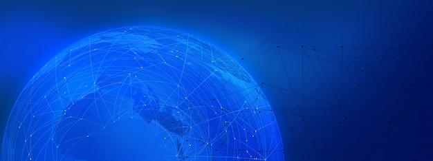 Fondo azul del tema de la cadena de bloque gráfico