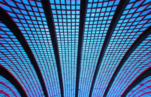 Fondo de azulejos geométricos modernos azul curvo