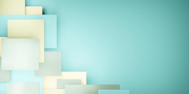 Fondo de azulejos jerarquía geométrica verde pastel resumen cuadrado ilustración 3d